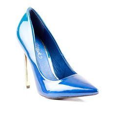 Cobalt Blue High Heeled Ladies Court by Miss Black Footwear.