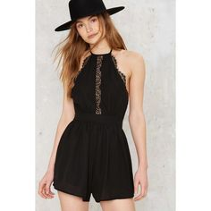 Hate the Game Lace Romper ($58) ❤ liked on Polyvore featuring jumpsuits, rompers, black, lace halter top, lace romper, halter rompers, open back halter top and open back romper