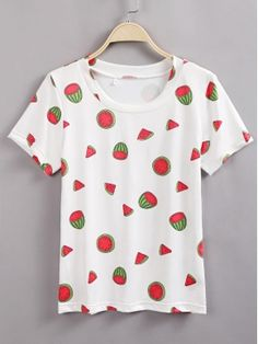 White Watermelon Printed Round Neck Short Sleeve T-Shirt