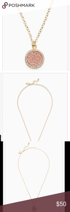 """Kate Spade Rose Gold Necklace All That Glitters Rose Gold Druzy Pendant and necklace by Kate Spade🔹shiny 12 -karat gold plated metal with resin🔹lobster claw closure🔹16"""" necklace with 3"""" extender 🔹comes with dust bag🚫trades🔹 kate spade Jewelry Necklaces"""