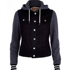 5bfb0b7a1e River Island Black contrast jersey sleeve denim jacket ($33) ❤ liked on Polyvore  featuring