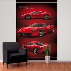Ferrari Wall Mural x Ideal for bedrooms and living rooms. Treat like normal wallpaper. Dark Red Wallpaper, Normal Wallpaper, Dramatic Look, Wall Murals, Ferrari, Alternative, Printing, Simple, Awesome