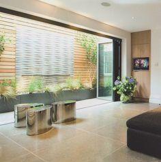 Stone and cedar lightwell wall by Fork Garden Design – Basement İdeas 2020 Basement Layout, Modern Basement, Basement Windows, Basement House, Walkout Basement, Modern Garden Design, Rustic Design, Bi Level Homes, Basement Conversion