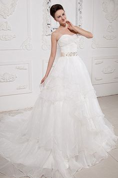 Sweetheart Tiered Sheer Ivory Princess Wedding Dress with Beaded Champagne Waistband.