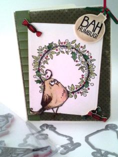 Sir Stampalot - card made by Maggie Moore using Tim Holtz Bird Crazy Dies and Stamps and Woodware Christmas Ring stamp set.