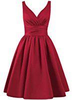 Azbro Women's Simple V Neck A-line Bridesmaid Dress