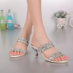 Women Rhinestone Crystal High Heel Wedding Bride Dress Sandals Shoes #Sparrow #OpenToe