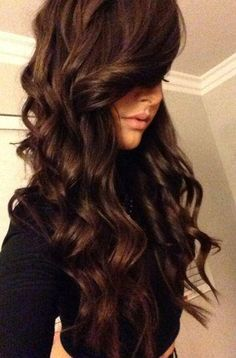 Love the dark chocolate brown color. Also love the length curls (flat iron curls). Love the dark chocolate brown color. Also love the length curls (flat iron curls). Ombré Hair, Hair Dos, New Hair, Curls Hair, Prom Hair, Love Hair, Great Hair, Gorgeous Hair, Amazing Hair