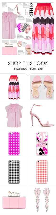 """Ruffles Ruffles Ruffles"" by atelier-briella ❤ liked on Polyvore featuring Emilio Pucci, Gucci, Temperley London, Alexander McQueen, Allurez, chic, Elegant, iPhonecases and ruffledtops"