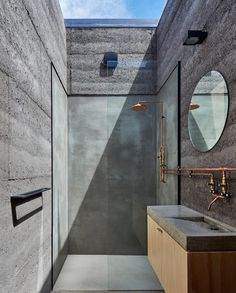 Bathroom skylight, exposed copper plumbing & concrete surrounds ~ Balnarring Retreat by Branch Studio Architects Photographed by Peter Clarke ~ RG LUC Design