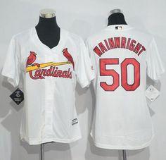 Cardinals #50 Adam Wainwright White Women's Home Stitched MLB Jersey