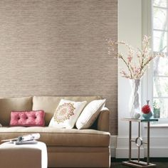 Create instant accent walls with Grasscloth Peel and Stick Wallpaper!