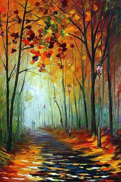 Paisaje arte - callejón de niebla, Bosque nebuloso abstracto óleo sobre lienzo…
