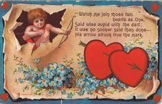 A Happy Vintage Valentine's Day Victorian Valentines, Vintage Valentine Cards, Vintage Greeting Cards, Valentine Day Cards, Vintage Postcards, Happy Valentines Day, Valentine Cupid, Saint Valentine, Cupid Love