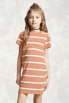 Forever 21 Girls - A knit T-shirt dress featuring allover stripes, short sleeves, a crew neck, and a chest patch pocket.