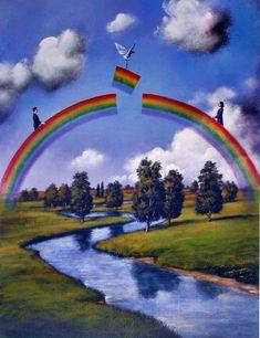 Rafał Olbiński - Der Regenbogen symbolisiert eine schützende Kuppel sowie im Hinblick auf die Geschichte von Noah ein Zeichen der Versöhnung zwischen Gott und den Menschen.