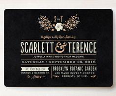 pretty black wedding invite