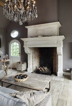 love the exposed brick fireplace-South Shore Decorating Blog: Linens and Boxwoods Giveaway, and New Rooms I Love