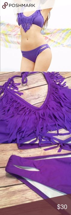 NWOT Purple Fringe Bikini Super cute purple fringe top with tie behind neck and removable pads! Size a medium but could fit a smaller medium or a larger small. Wait of bottoms is 29 inches and bust is 25 inches. Clasp back of top! No swaps! Swim Bikinis
