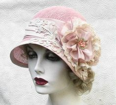 Cloche Hat in Shabby Chic Pink by Vintage Style Hats by Gail on Flickr.