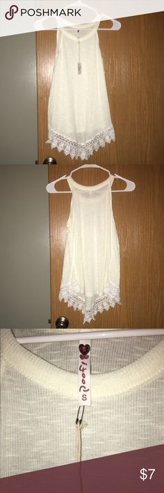BRAND NEW poof! high low top Brand new with tags! High low cream tank top with crotchet bottom! Poof! Tops Tank Tops