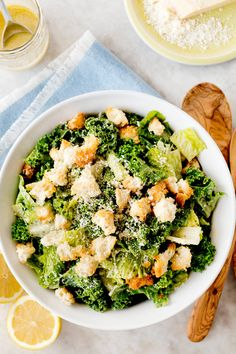 Kale and romaine make an ideal combination of greens, but all romaine or all kale is fine: just stay away from tender, wilting leaves like mesclun and Bibb lettuce. Using strong greens also means that the salad can be tossed up to two hours before serving, as long as it is kept cold. (Photo: Rikki Snyder for The New York Times)