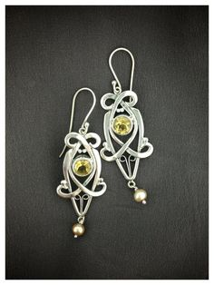 Citrine Chandelier Earrings Pearl and by LaurenRolfeJewelry. Beautifully unique.