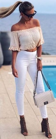 #summer #clothing #trends | Nude Bandeau Crop + White Jeans