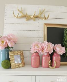 Pastel & Gold Spring Mantel with Balsam Hill Boxwood Wreath at The Happy Housie 7