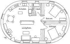 Cob House floorplans: English Earthbag Cottage