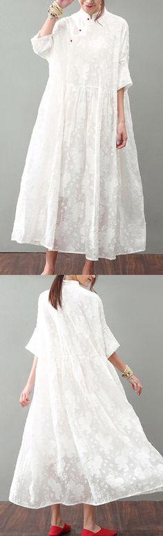 New white natural silk dress