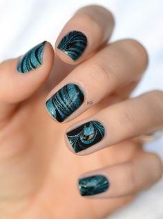 Black Watermarble Nail Art
