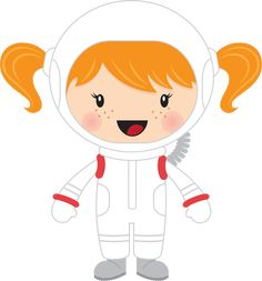 Cartoon image of girl astronaut. Cosmos, Paper Punch Art, Arabic Alphabet For Kids, Easy Canvas Art, Girls Clips, Bye Felicia, Space Girl, Space Party, Art N Craft