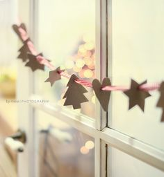 """Simple """"to do"""" for busy Chistmas season. Kids get to make something and yet it takes little prep and makes little mess and it looks cute hanging across the window...my kind of """"craft"""""""