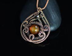 Agata Ciondolo filo avvolto gioielli filo di rame di OrioleStudio