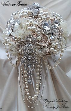 """STUNNING VINTAGE GLAM- Unique Elegant Bridal Brooch Design in 10"""", Mix of Champagne and Ivories, Cascading Jeweled Design, Brooch Bouquet"""