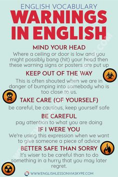to Warn Someone in English How to warn someone in English? Warnings in English.How to warn someone in English? Warnings in English. English Learning Spoken, English Speaking Skills, Learn English Grammar, English Writing Skills, English Vocabulary Words, Learn English Words, English Idioms, English Phrases, English Language Learning