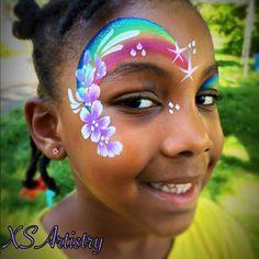 Kids Face Painting Easy, Face Painting Flowers, Eye Face Painting, Face Painting Designs, Body Painting, Rainbow Face Paint, Rainbow Makeup, Unicorn Face, Eye Art