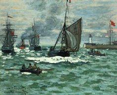 """Claude Monet, """"The Entrance to the Port of Le Havre (formerly The Entrance to the Port of Honfleur)"""", c. 1867-1868, Norton Simon Museum"""