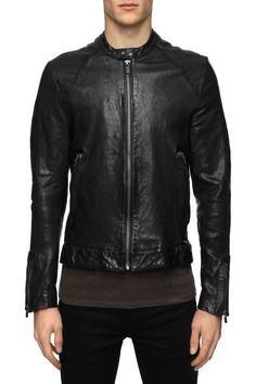 BLK DNM - Mens Leather Jacket 60 Black