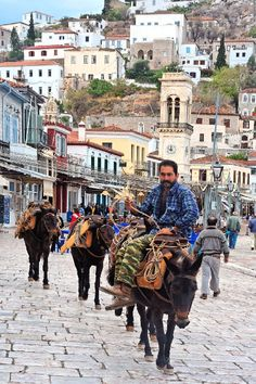 Man on donkey, in Hydra island - Greece. No cars there :-)
