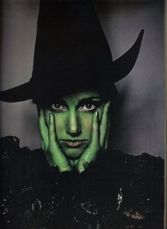 Idina Menzel as Elphaba. I heard on PBS that her green is a MAC colour that was already a MAC Colour when the make up artists went shopping . They found this and search over! A fantastic musical. Best costumes ever in any musical. Samhain, Defying Gravity, Idina Menzel, Vampire, Wicked Witch, Fantasy, Look At You, Wizard Of Oz, Trick Or Treat