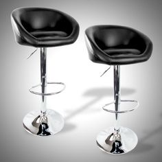 """2 Barstools Swivel Seat Black PU Leather Modern Adjustable Hydraulic Bar Stool by Expectsaving. $107.95. PU Leather seat 