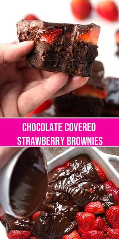 Chocolate Covered Strawberry Brownies Recipe Chocolate Covered Strawberry Brownies are a delicious, chocolatey dessert recipe. If you like rich, chocolate brownies, then you will love these chocolate ganache strawberry covered brownies! Smores Dessert, Dessert Dips, Strawberry Brownies, Chocolate Covered Strawberries, Strawberry Recipes, Brownie Recipes, Chocolate Recipes, Cake Recipes, Dessert Recipes