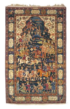 Persian Isfahan rug, depicting a battle of Nadershah, 234 by 146cm., circa 1900, Sotheby's