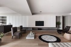 Contemporary apartment located in Taipei, Taiwan, designed by Wei Yi International Design Associates. Living Room Tv, Living Room Modern, Living Room Interior, Home Interior, Home And Living, Living Room Designs, Interior Architecture, Interior Design, Painel Tv Sala Grande