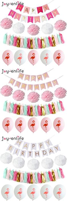 [Visit to Buy] JOY-ENLIFE 1set Happy Birthday Banner Pompom Paper Tassels Flamingo Balloon Decor Shower Baby Garland Perfect Party Supplies #Advertisement