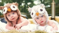 Baby Owl Hats for TwinsSet of 2 owl hats in by HatAndColdCrochet, $62.00