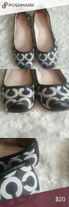 Coach signature logo flats sz 8 In good.condition, shows wear on the back as seen in the pics. I took pictures of all angles. Please view all pics. Really xute sgow to wear with skirts or pants. Show a little dirt but not much, cloth material can likely be washed. Coach Shoes Flats & Loafers