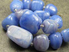 Into the Fire Lampwork Art Beads ~Lavender Opals~ Artist handmade glass beads